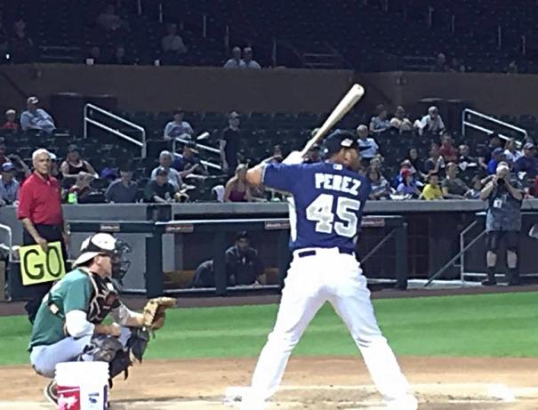 Fernando Perez, Padres Infielder, Arizona Fall League. Bowman Hitting Challenge. Photo by Rebecca Herman, Padres360