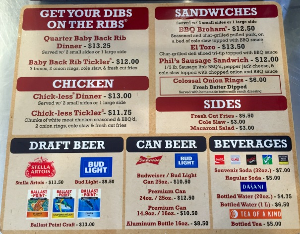 Phil's BBQ Menu at Petco Park