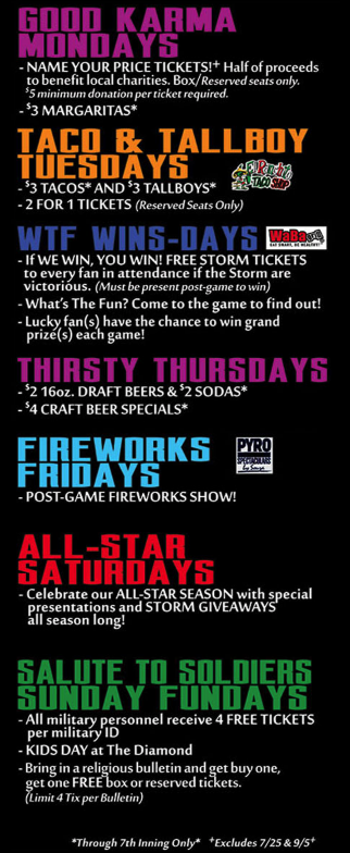 Lake Elsinore Storm 2016 Promotions