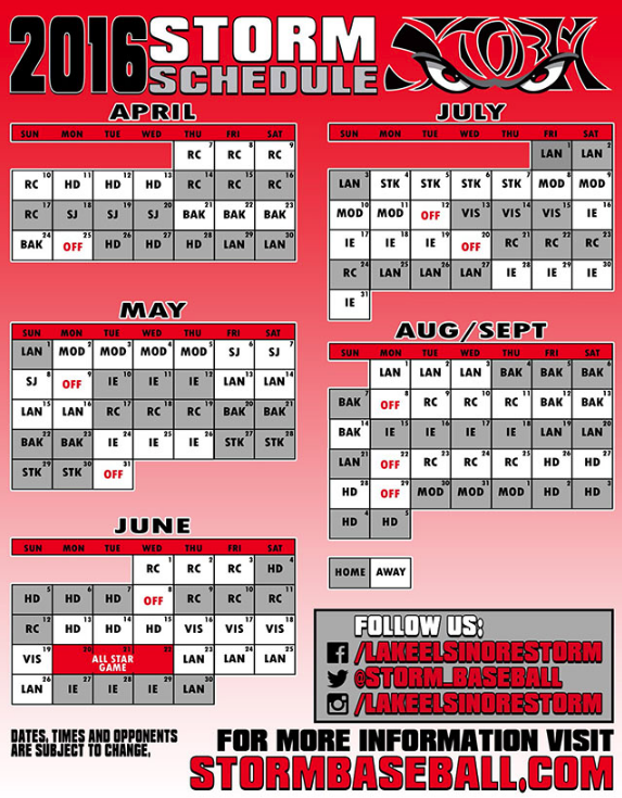 Lake Elsinore Storm 2016 Schedule