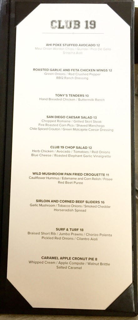 Petco Park 2016 Club 19 Menu