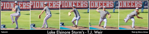 TJ Weir in a bullpen session for Lake Elsinore Storm